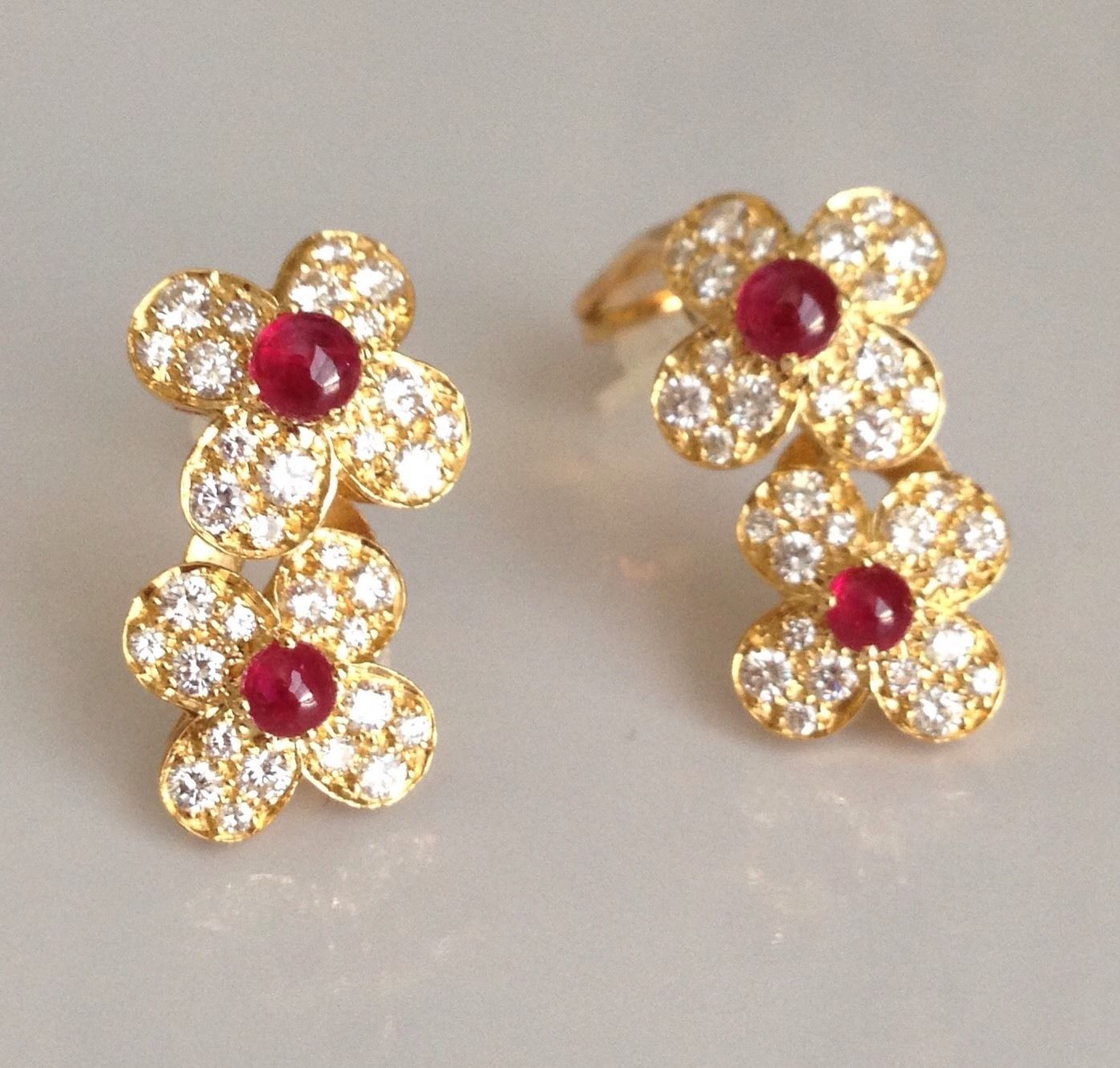 Sold Van Cleef & Arpels 18k Yellow Gold Diamond Rubies Trefle Two Flower  Earrings